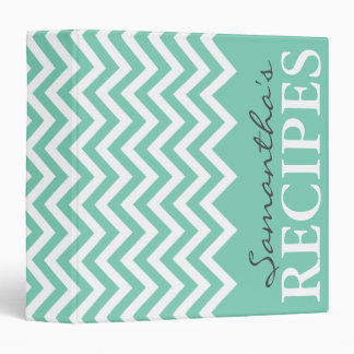 Personalized mint chevron pattern recipe binder
