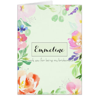 Personalized Mint Floral Thank you bridesmaid Card
