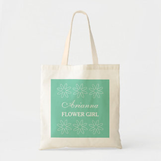 Personalized mint flower girl wedding tote bag