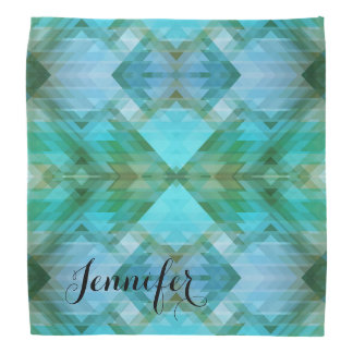 Personalized Mint Geometric Pattern Bandana