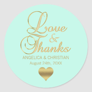 Personalized MINT Gold LOVE & THANKS Wedding Classic Round Sticker