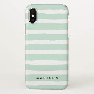 Personalized Mint Green and White Brushed Stripe iPhone X Case