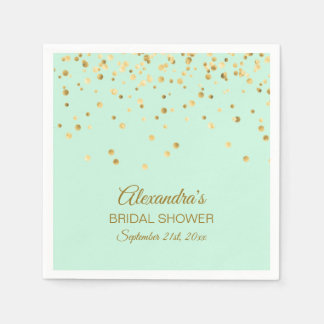 Personalized MINT GREEN Gold Bridal Shower Napkin