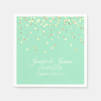 Personalized MINT green Gold Confetti Wedding Paper Napkin