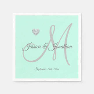 Personalized Mint Green Heart Monogrammed Wedding Paper Napkin