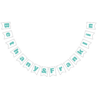Personalized Mint or Any Custom Color Wedding Bunting Flags
