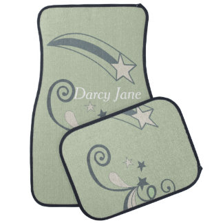 Personalized Mint White Shooting Stars Flourish Car Liners