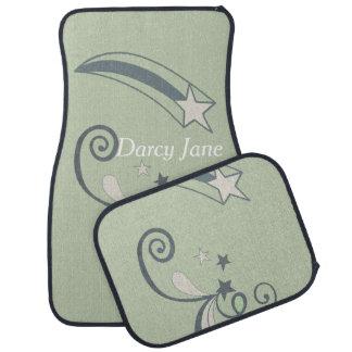 Personalized Mint White Shooting Stars Flourish Car Mat