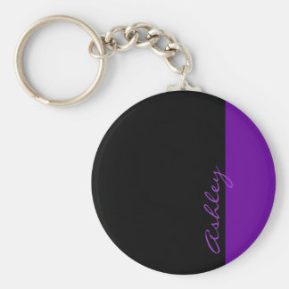 Personalized Modern 519 Purple Keychain