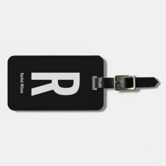 Personalized | Modern Black and Grey Luggage Tag