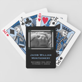 Personalized Modern Black & White New Baby Boy Bicycle Playing Cards