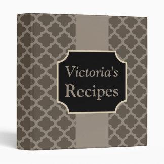 Personalized Modern Brown Recipe Binder