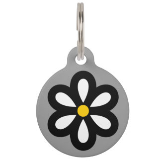 Personalized Modern Daisy Pet Tag - Yellow/Gray