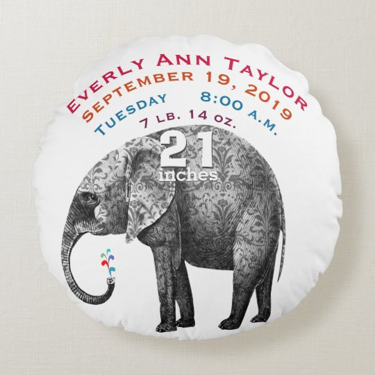 Personalized Modern Elephant Baby Nursery Round Pillow