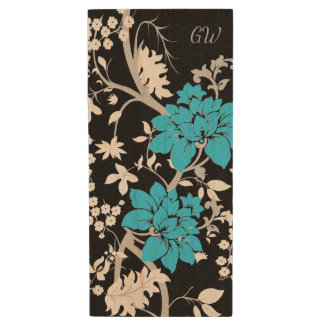 Personalized Modern floral Wood USB Flash Drive