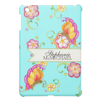 Personalized Modern Flowers Whimsical Butterfly iPad Mini Cases