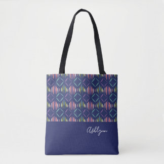 Personalized Modern Geometric Pattern on Navy Blue Tote Bag