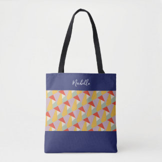 Personalized Modern Geometric Triangles Tote Bag