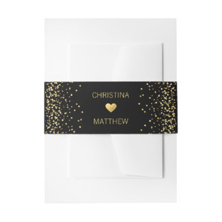 Personalized Modern Gold HEART Black Wedding Invitation Belly Band