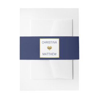 Personalized Modern Gold HEART Navy Blue Wedding Invitation Belly Band