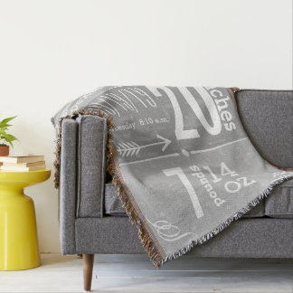 Personalized Modern Gray Birth Record Throw Blanket