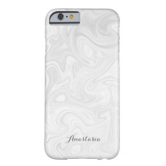 Personalized Modern Gray-White Liquid Marble Case