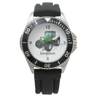 Personalized Modern Green Farm Tractor Watch
