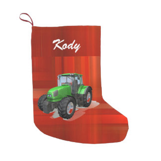 Personalized Modern Green Tractor on Red Small Christmas Stocking