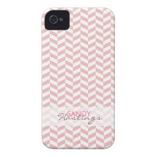 Personalized Modern Herringbone Blush Zig Zag iPhone 4 Case-Mate Case