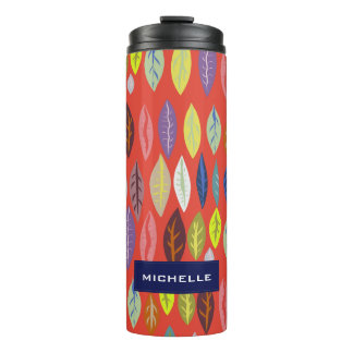 Personalized Modern Leaf Pattern on Tomato Red Thermal Tumbler