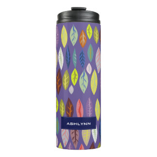 Personalized Modern Leaf Pattern on Violet Thermal Tumbler