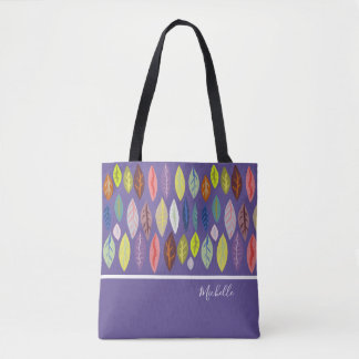 Personalized Modern Leaf Pattern on Violet Tote Bag