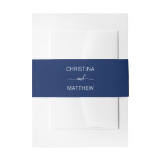 Personalized Modern NAME Navy Blue & White Wedding Invitation Belly Band
