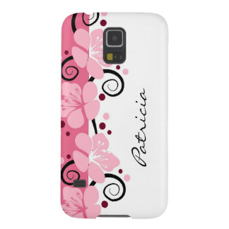Personalized Modern Pink Flowers Galaxy S5 Case