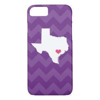 Personalized Modern Purple Chevron Texas Heart Case-Mate iPhone Case