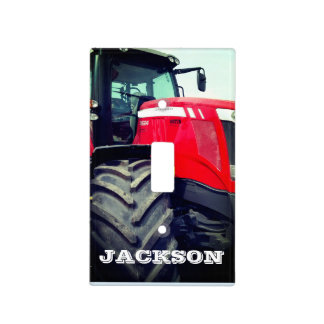 Personalized Modern Red Farm Tractor Light Switch Cover