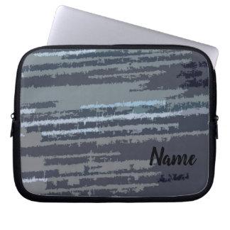 Personalized Modern Stylish Blue Striped Pattern Laptop Sleeve