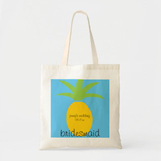 Personalized Modern Tropical Pineapple Bridesmaid Tote Bag