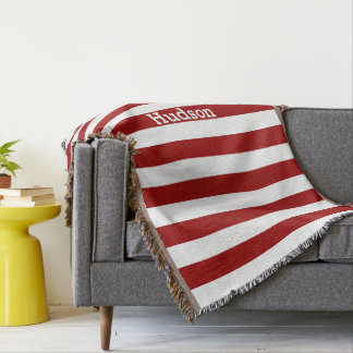 Personalized Modern White and Any Color Striped Throw Blanket