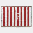 Personalized Modern White and Any Colour Striped Throw Blanket
