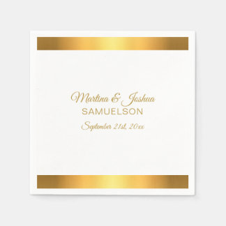 Personalized Modern White Gold Banner Wedding Napkin