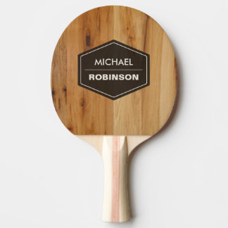 Personalized Modern Wood Grain Texture Ping Pong Paddle