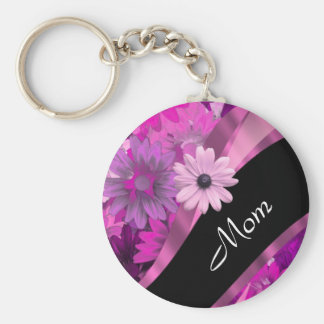 Personalized mom pink floral basic round button keychain