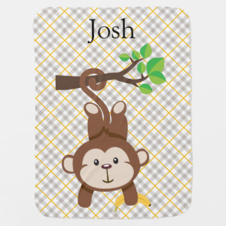 Personalized Monkey Baby Blanket