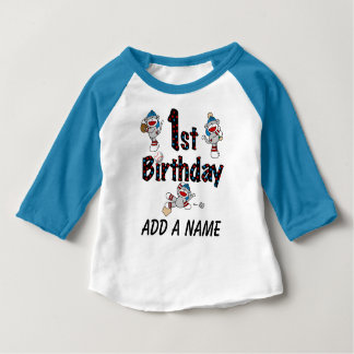 Personalized Monkey Baseball 1st Birthday Tshirt