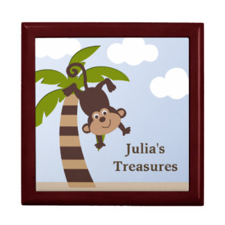Personalized Monkey on Palm Tree Keepsake Box