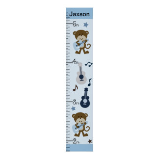 Personalized Monkey Rocker/Musical Growth Chart