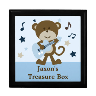 "Personalized ""Monkey Rockstar"" Baby Keepsake Box"