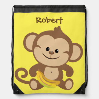 Personalized Monkey With Banana Drawstring Bag