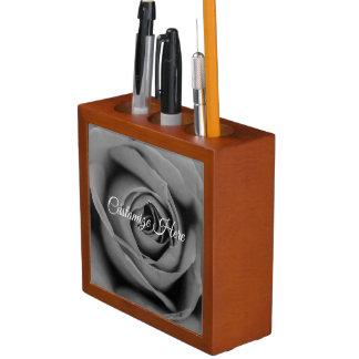 Personalized Monochromatic Rose Desk Organizer